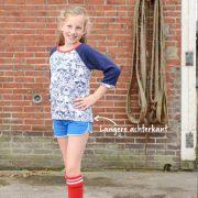 Meisjes t-shirt met raglanmouw - driekwart